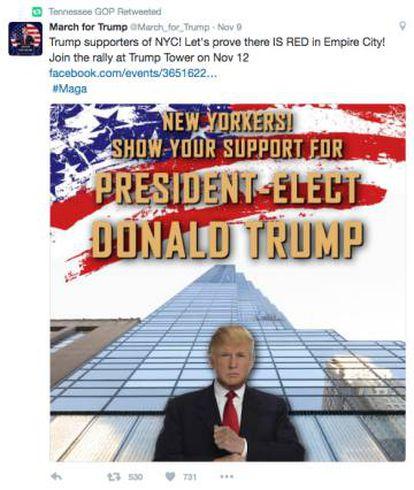 Un cartel de la Marcha por Trump convocada por la factoría rusa y retuiteada por una cuenta falsa de los republicanos de Tennessee.