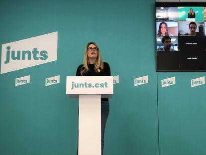 La vicepresidenta de Junts, Elsa Artadi, durante la rueda de prensa telemática de este lunes.
