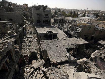 Casas en Beit Hanun destruidas por los bombardeos.