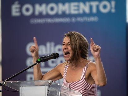 Yolanda Díaz participa en Vigo en un mitin de la campaña de las elecciones gallegas el pasado domingo.