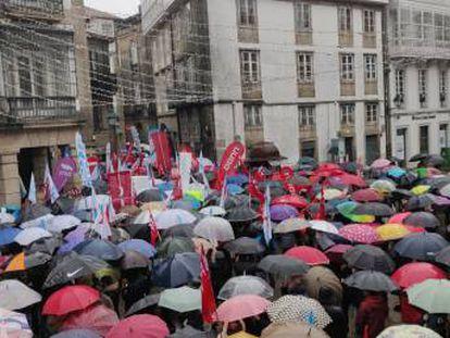 Manifestación del profesorado gallego este jueves en Santiago.