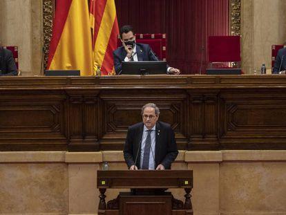 Quim Torra, en el pleno del Parlament sobre la Monarquía, este viernes.