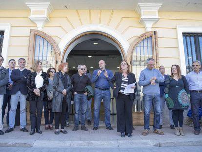 Concentración de solidaridad en Godella (Valencia) por los dos niños muertos.