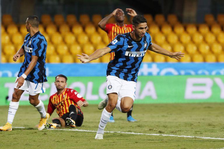 Achraf celebra un gol ante el Benevento.