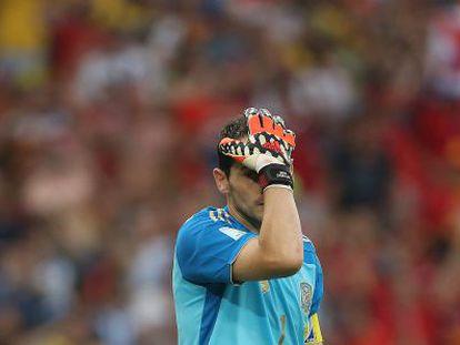 Casillas, desolado tras la derrota y la eliminación.