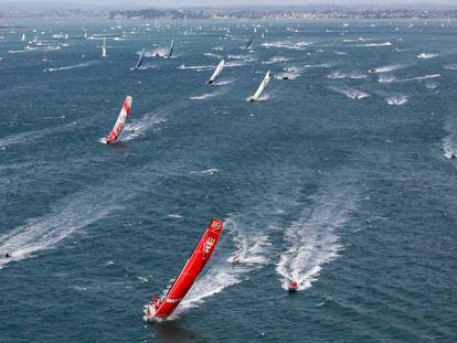 Salida desde Auckland de la séptima etapa de la Volvo Ocean Race.