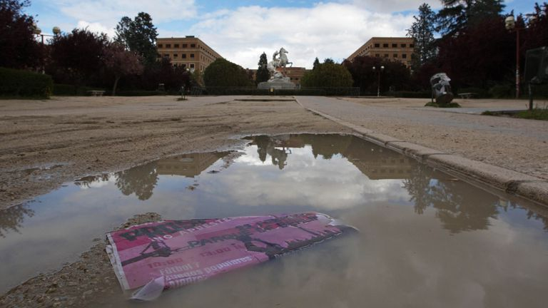 Campus de la Universidad Complutense de Madrid vacío por el estado de alarma, este jueves.