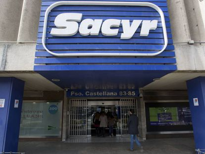 Fachada de la sede de Sacyr, en el paseo de la Castellana 83- 85 de Madrid.