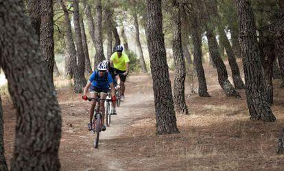 Ciclistas de montaña en La Pedriza, en el Parque Nacional de la Sierra de Guadarrama.