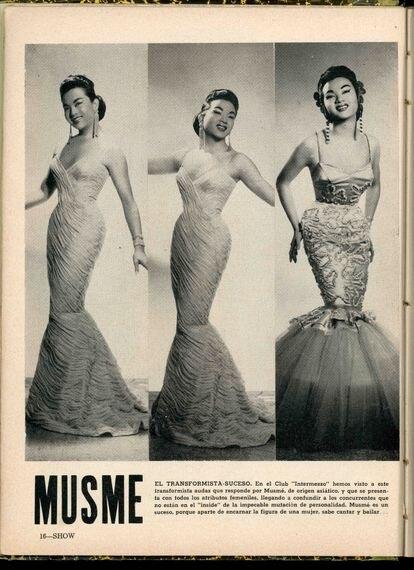 La transformista chino-cubana Musmé en la revista 'Show' en enero de 1958.