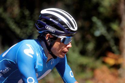 Miguel Ángel López, durante la vigésima etapa de la Vuelta en la que abandonó la carrera.