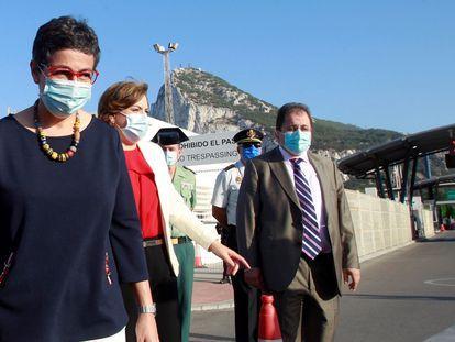 La ministra de Exteriores, Arancha González Laya, durante una visita al Campo de Gibraltar el pasado 24 de julio.