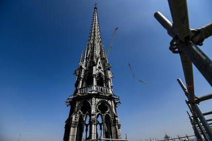 La aguja de Notre Dame, en abril de 2019.