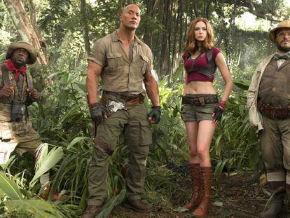 De izquierda a derecha, Kevin Hart, Dwayne Johnson, Karen Gillan y Jack Black, protagonistas de 'Jumanji: Bienvenidos a la jungla'.