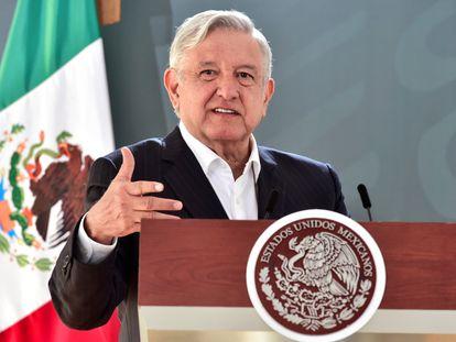 El presidente Andrés Manuel López Obrador, durante una conferencia en Veracruz, este lunes.
