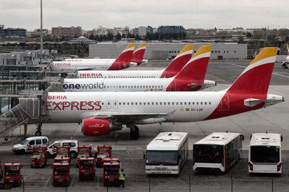 Aviones de Iberia en el aeropuerto Adolfo Suárez Madrid-Barajas.