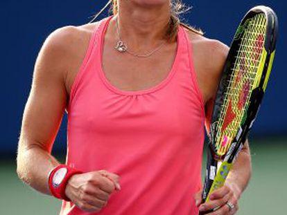 Hingis, en un partido de dobles del US Open.