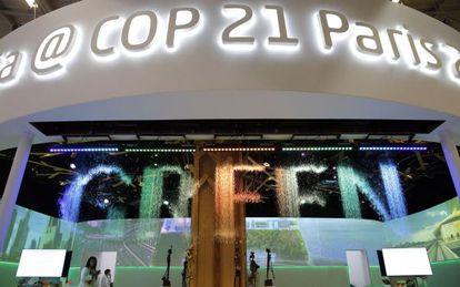 Pabellón de India en la cumbre del clima de París.