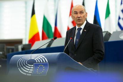 El primer ministro esloveno, Janez Jansa, durante su intervención en el Parlamento Europeo, este martes.
