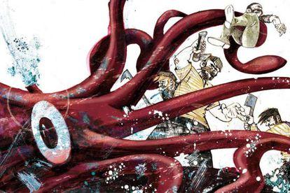 Uno de los dibujos de 'Veinte mil leguas de viaje submarino' de la edición ilustrada de 2012, que hizo Agustín Comotto para Nórdica Libros.