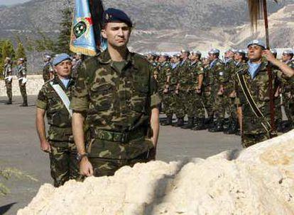 El Príncipe de Asturias visita a las tropas en Líbano