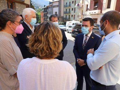El presidente de la Generalitat, Pere Aragonès, la semana pasada en Sort, en el Pirineo de Lleida.