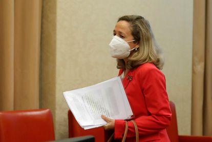 La vicepresidenta Nadia Calviño, el pasado jueves en la Comisión de Asuntos Económicos del Congreso.