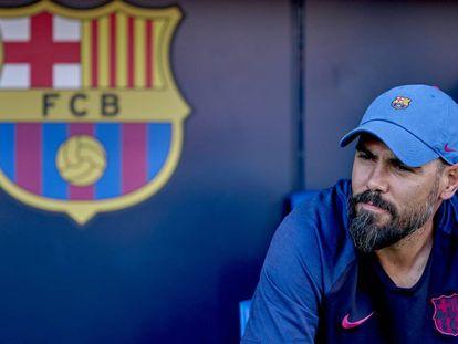Valdés, con el juvenil del Barcelona.