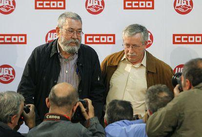 Rueda de prensa en la que Cándido Méndez e Ignacio Fernández Toxo han anunciado que convocarán una huelga general el próximo 29 de septiembre.