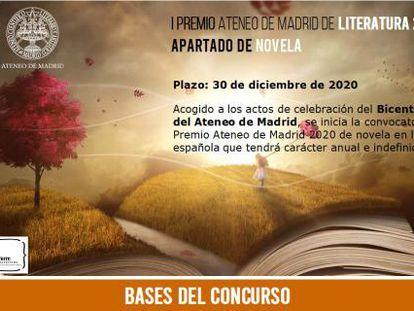 Cartel del I Premio de Novela del Ateneo de Madrid