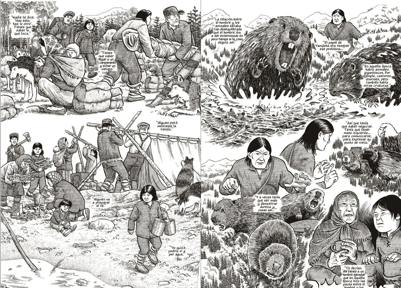 Dos páginas de 'Un tributo a la tierra' de Joe Sacco.