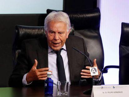 El expresidente del Gobierno Felipe González, el 24 de junio en un debate en Casa América, en Madrid.