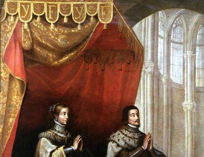 'Los Reyes Católicos bajo un dosel'. Lienzo anónimo del primer tercio del siglo XVII en el que se representa a Isabel y Fernando en un edificio con claras características góticas.