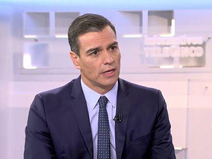 El presidente del Gobierno, Pedro Sánchez, durante su intervención en Telecinco.