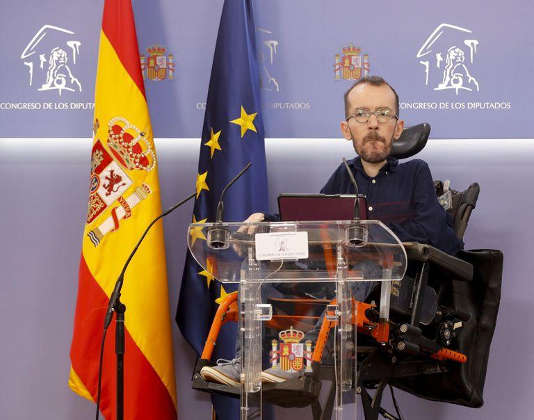 El portavoz de Unidas Podemos, Pablo Echenique,  en el Congreso.