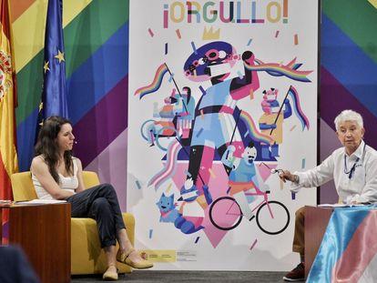 La ministra de Igualdad, Irene Montero, y la directora general de Diversidad Sexual y Derechos LGTBI, Boti García, presentan este miércoles la campaña para el Orgullo 2020.
