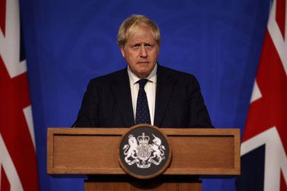 El primer ministro británico, Boris Johnson, durante una rueda de prensa, este martes en Downing Street, Londres (Reino Unido).