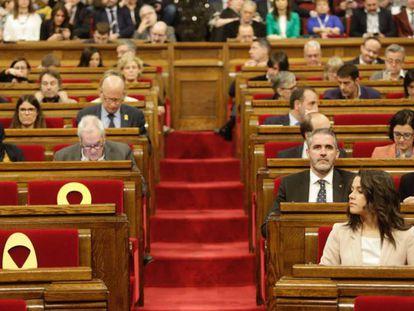 Diputados del Parlament durante el pleno de este miércoles.