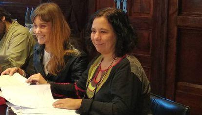 Jéssica Albiach y Susana Segovia en la Mesa del Parlament de este martes