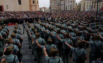 La Legión durante la Semana Santa de Málaga de 2018.