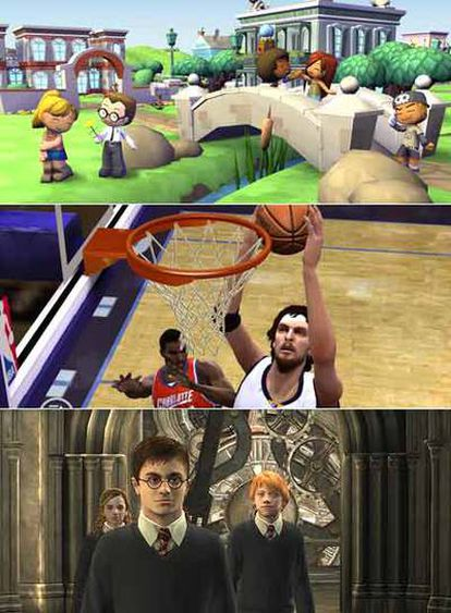 <b>Imagen de Los Sims, NBA Live y Harry Potter (de arriba a abajo), los juegos de la guía</b> <i>Aprendiendo con los videojuegos</i> <i>comerciales.</i>