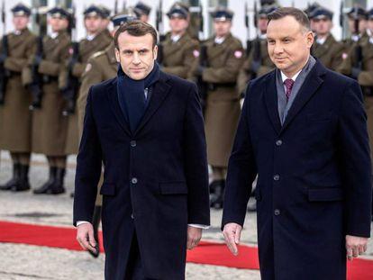 Los presidentes Emmanuel Macron y Andrzej Duda el 3 de febrero en Varsovia