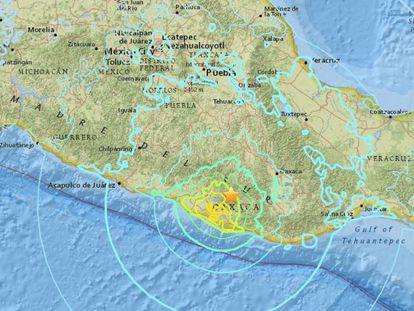 Captura del epicentro del sismo.