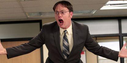 Uno de los protagonistas de 'The Office' al enterarse de la cantidad de anglicismos que se dicen en las oficinas españolas.
