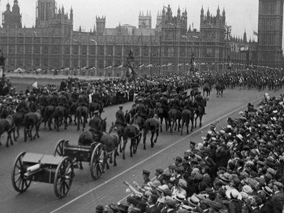 Celebración, en Londres, del final de la Gran Guerra.