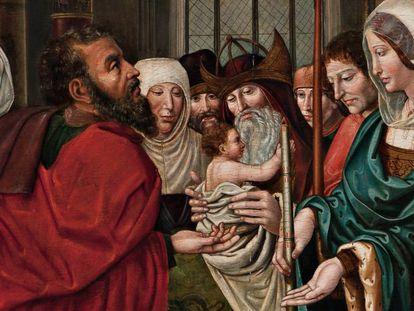 Detalle de la pintura del Maestro de Sijena. La mujer de la izquierda no existe en la pintura realizada en el siglo XVI.