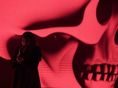 La cantante Najwa Nimri, el jueves durante su concierto en la Sala Ocho y Medio de Madrid