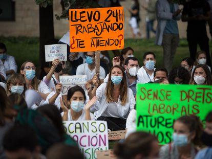 Manifestación de Médicos Internos Residentes (MIR) el pasado 21 de septiembre.