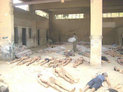 Los cuerpos de decenas de presos sirios yacen en una prisión del régimen, en una imagen difundida por un fotógrafo desertor en enero de 2014. GETTY
