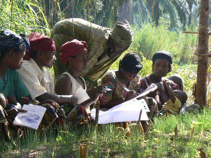 Agricultores de Burundi debaten sobre el uso de técnicas agroecológicas.